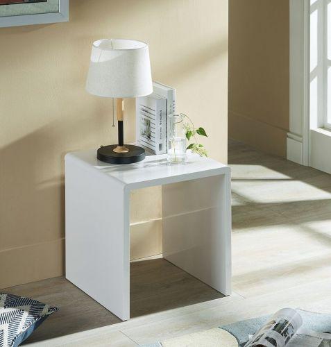 Julian Bowen Manhattan White High Gloss Lamp Table