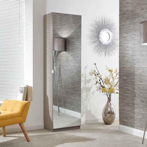 Mirrored Shoe Cabinet 180cm - Grey