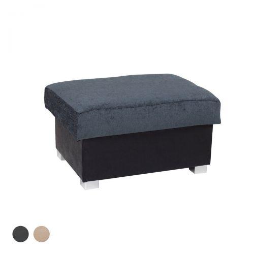 Sharine Fabric Footstool - Black/Grey