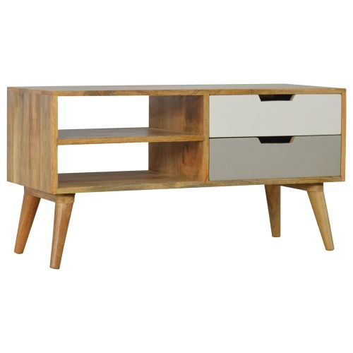 Grey and White Media Unit with 2 Drawers