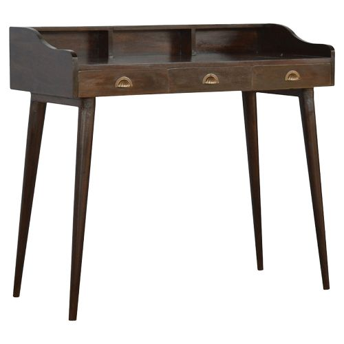 Walnut Gallery Back Nordic Writing Desk with 3 Drawers