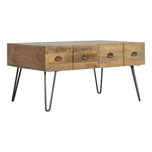 Iron Base Coffee Table with 4 Drawers