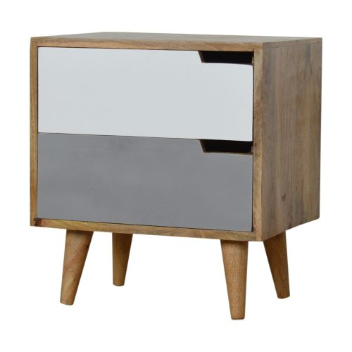 Grey Painted Bedside Table with Cut out Slots