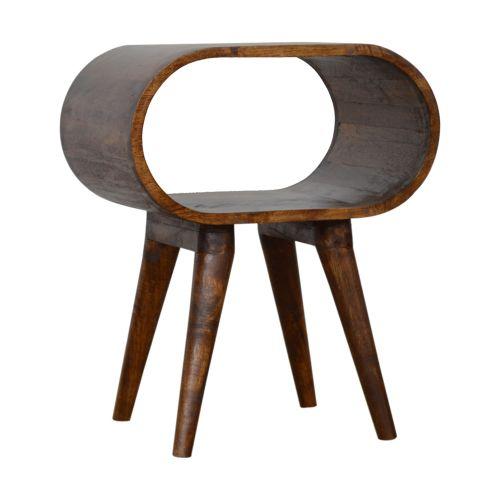 Chestnut Circular Open Bedside Table