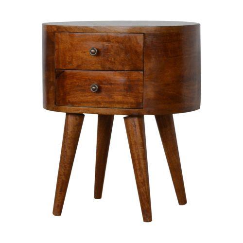 Chestnut Rounded Bedside Table