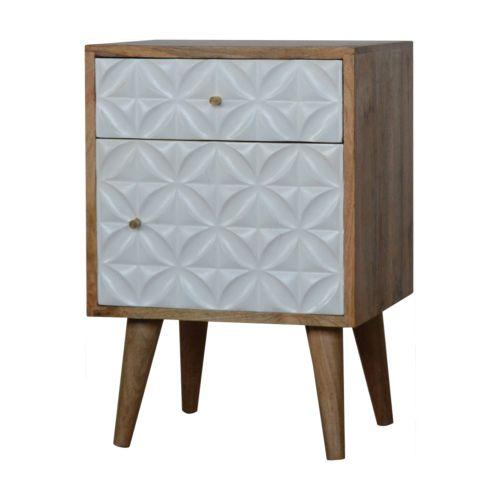 Diamond Carved 1 Door Bedside Table