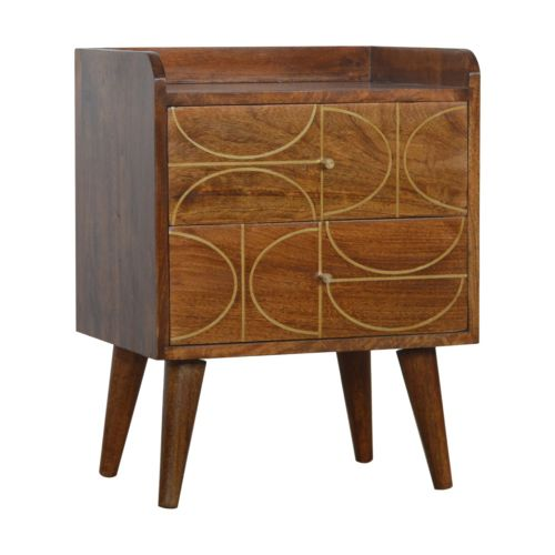 Chestnut Gold Inlay Abstract Bedside Table