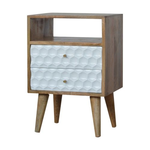 Honeycomb Carved Bedside Table with Open Slot