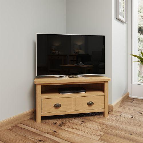 Herman Corner TV Unit - Rustic Oak