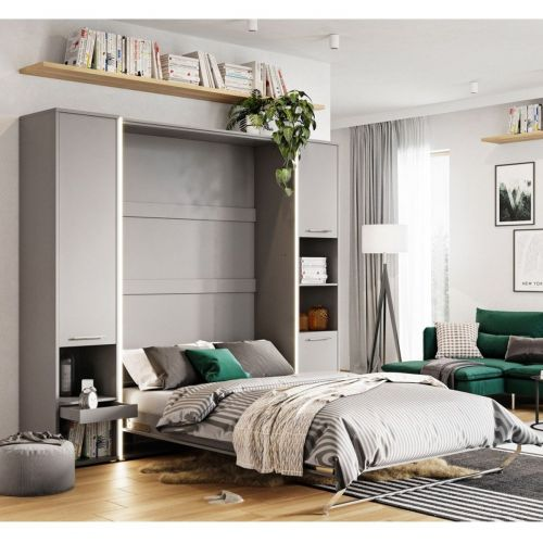 Proton Vertical Wall Bed & Storage Cabinet Set - 3 Sizes - 3 Colours