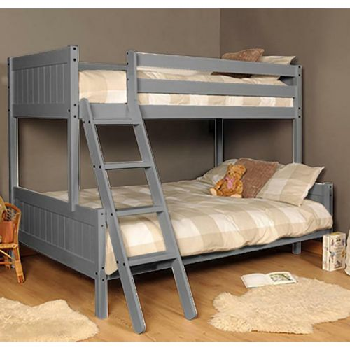 Wooden Triple Kids Bunk Bed with Mattress Option - Grey
