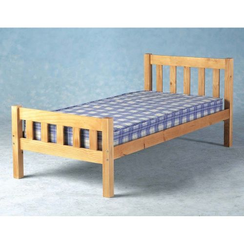 Carlow Wooden 3FT Single Bed Frame with Mattress - Pine