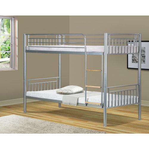 Cilla Metal 3FT Single Bunk Bed Without Mattress - Silver