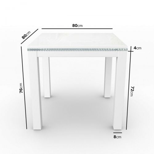 Jewel 4 Seater Dining Table - White Gloss