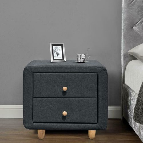 Linen Fabric 2 Drawer Bedside Tables - 2 Colours