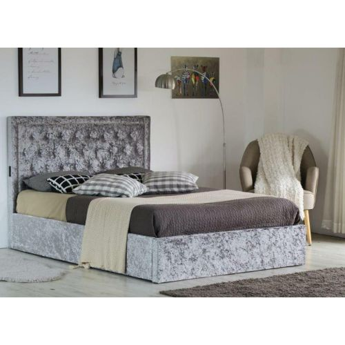Shimmer Fabric Upholstered Ottoman Bed Frame with USB Charging Port