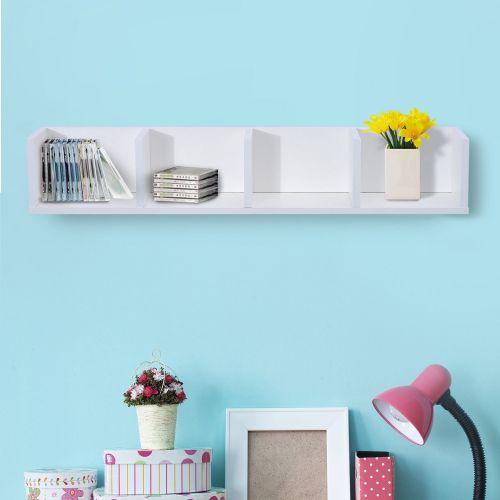 Homcom 4-Cube Wooden Wall Display Shelf - Natural or White
