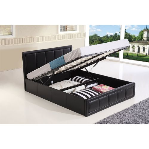 Modern Faux Leather Ottoman Storage Bed Frame