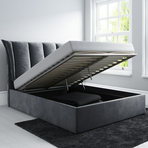 Maddox Velvet 4FT6 Double Ottoman Bed - Silver Grey