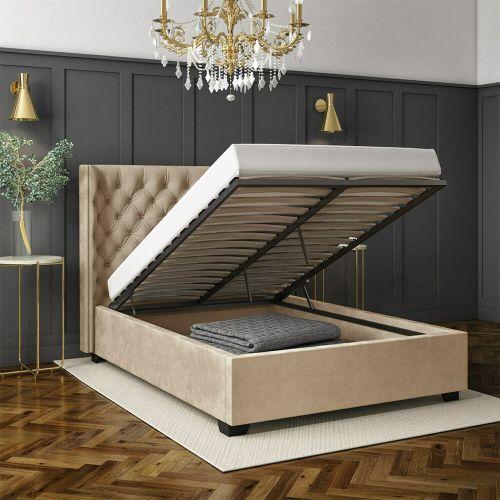 Milania Velvet Ottoman 4FT6 Double Bed Frame- Light Beige