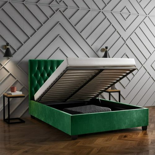 Safina 4FT6 Double Ottoman Bed - Dark Green