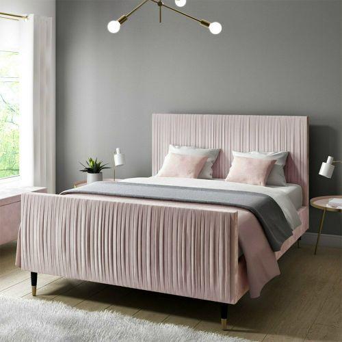 Jasmine Velvet 4FT6 Double Bed Frame - Pink