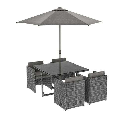 Rattan Garden Cube 6 Piece Dining Set - Dark Grey