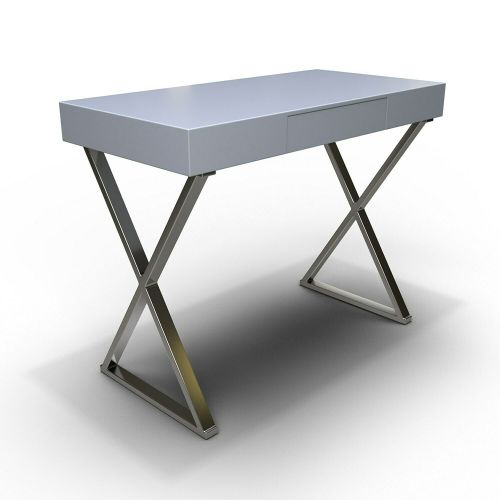 Roxy Office Desk with Drawer - Grey Gloss