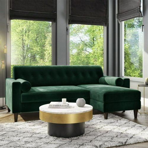 Idris Velvet 3 Seater Corner Sofa with Bolster Cushions - Dark Green