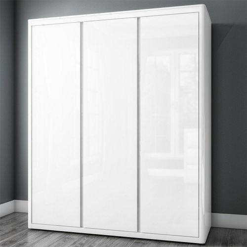 Lexi High Gloss Triple Door Wardrobe - White