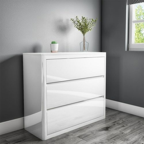 Lexi High Gloss 3 Chest of Drawers - White