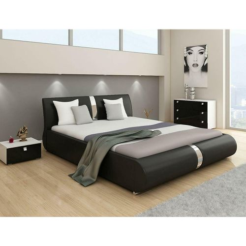 Canali Designer Italian Faux Leather Bed Frame - Black