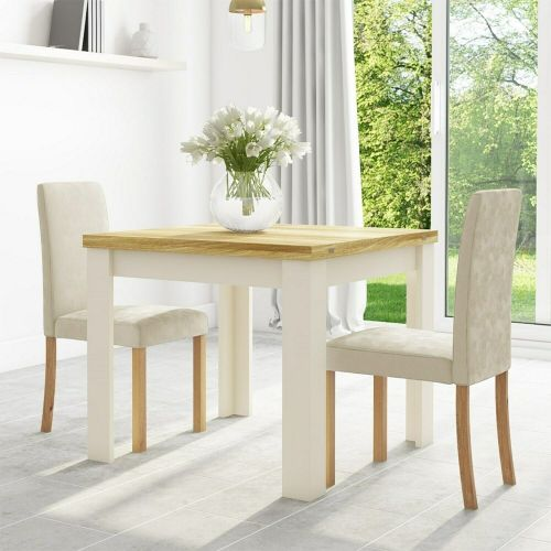 New Haven Flip Top Dining Table with Chairs - Cream & Oak