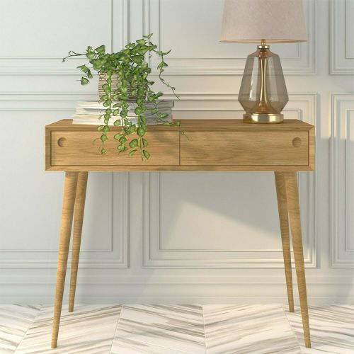 Briana Solid Console Table with Drawers - Oak