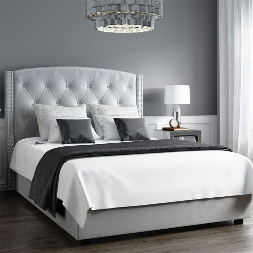 Safina Velvet 5FT Kingsize Ottoman Bed - Silver Grey