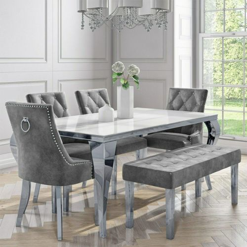 White Mirrored Dining Table with 4 Chairs and Bench