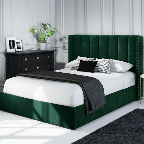 Maddox Velvet 4FT6 Double Ottoman Bed - Green
