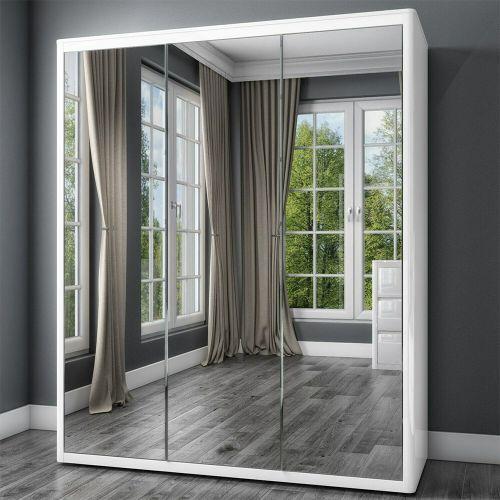 Lexi High Gloss 3 Doors Mirrored Wardrobe - White