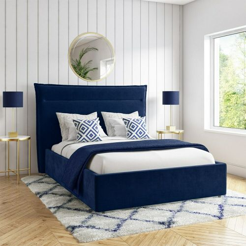 Maddox Velvet 4FT6 Double Bed Frame - Navy Blue