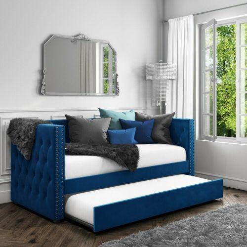 Sacha Velvet Day Bed - Navy Blue