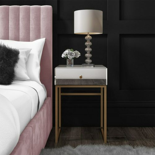 Lola Mirrored Single Drawer Bedside Table