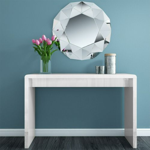 Tiffany High Gloss Large Console Table - White