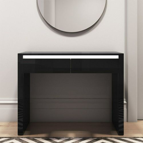 Tiffany Console Table with LED & Drawers - Black Gloss