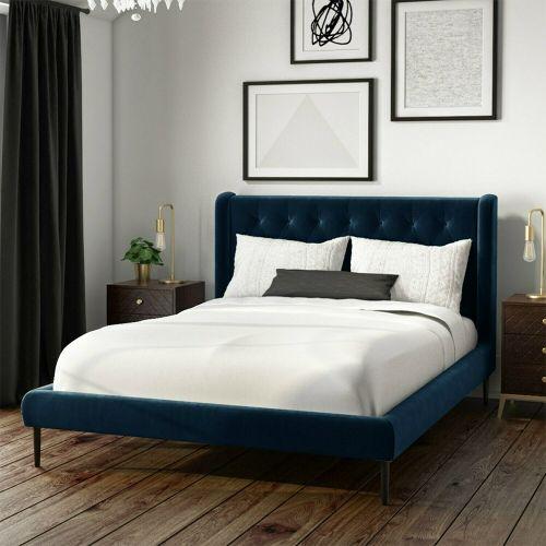 Amara Velvet 4FT Small Double Bed Frame - Navy Blue