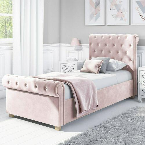 Safina Velvet Roll Top 3FT Single Sleigh Bed Frame - Pink