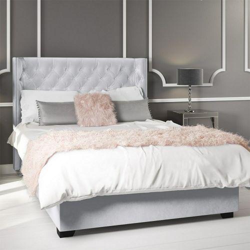 Milania Velvet 4FT6 Double Ottoman Bed Frame - Silver Grey