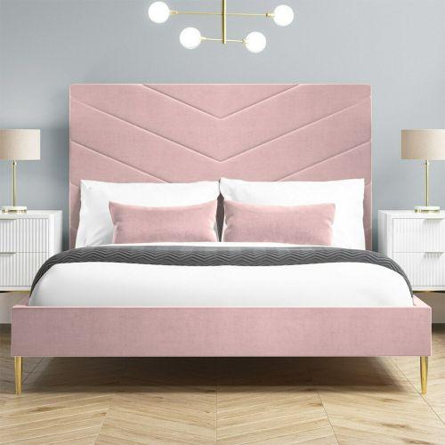 Aaliyah Velvet 4FT6 Double Bed Frame - Pink