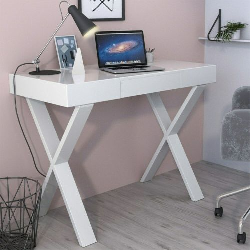 Roxy Office Desk with Drawer - White Gloss