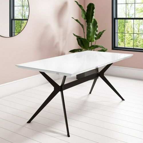 Rochelle Large Modern Dining Table - White Gloss