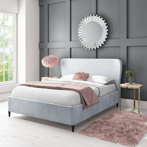 Margot Velvet 4FT6 Double Ottoman Bed Frame - Silver Grey